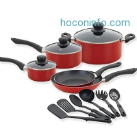 ihocon: Betty Crocker 80180 14 Piece Cookware Set- Kitchen Pots and Pans Set Nonstick with Cooking Utensils - Non Stick Cookware Set PTFE and PFOA Free Basics Pots and Pans - Red