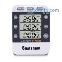 ihocon: Samshow Digital Kitchen Cooking Timer Clock,3 Channels Simultaneous Timing Countdown電子計時器