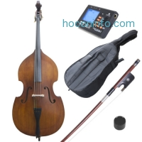 ihocon: Cecilio Size 3/4 Acoustic Upright Double Bass +Case+Bow ~3/4CDB-100