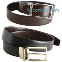 ihocon: Alpine Swiss Men's Dress Belt Reversible Black Brown Leather Imported from Spain