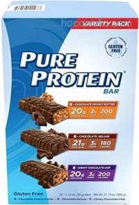 ihocon: Pure Protein Bar Variety Pack (6 Chocolate Peanut Butter, 6 Chewy Chocolate Chip, 6 Chocolate Deluxe), (18 Count of 1.76 Oz bars) from Pure Protein