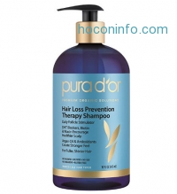 ihocon: PURA D'OR 有機摩洛哥榛果防掉髮洗髮乳Hair Loss Prevention Therapy Premium Organic Argan Oil Shampoo, 16 Fluid Ounce