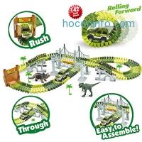 ihocon: Race Car Track Toy (142 Pieces Flexible Tracks Set, Military Vehicles and Drawbridge Dinosaur Park)