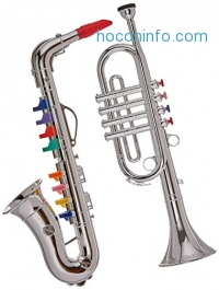 ihocon: Click n' Play Set of 2 Musical Wind Instruments for Kids - Metallic Silver Saxophone and Trumpet Horn