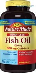 ihocon: Nature Made Fish Oil 1000mg, Omega 3 300mg, Burp-Less Softgel , 320 Count