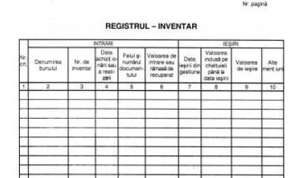 PFA – Completare registru de inventar