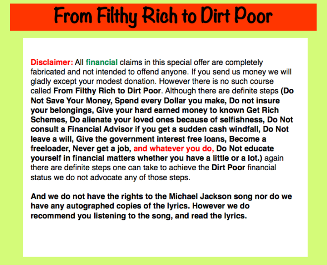 Filthy Rich to Dirt Poor for Posting