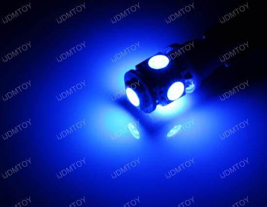 JDM Xenon White or Ultra Blue 360-Degree Shine 5-SMD 5050 T10 LED Wedge Light Bulbs for 168 194 921 2825