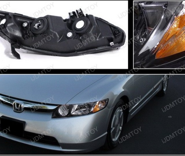 2006 2011 Honda Civic Black Housing Euro Style Reflector Headlights
