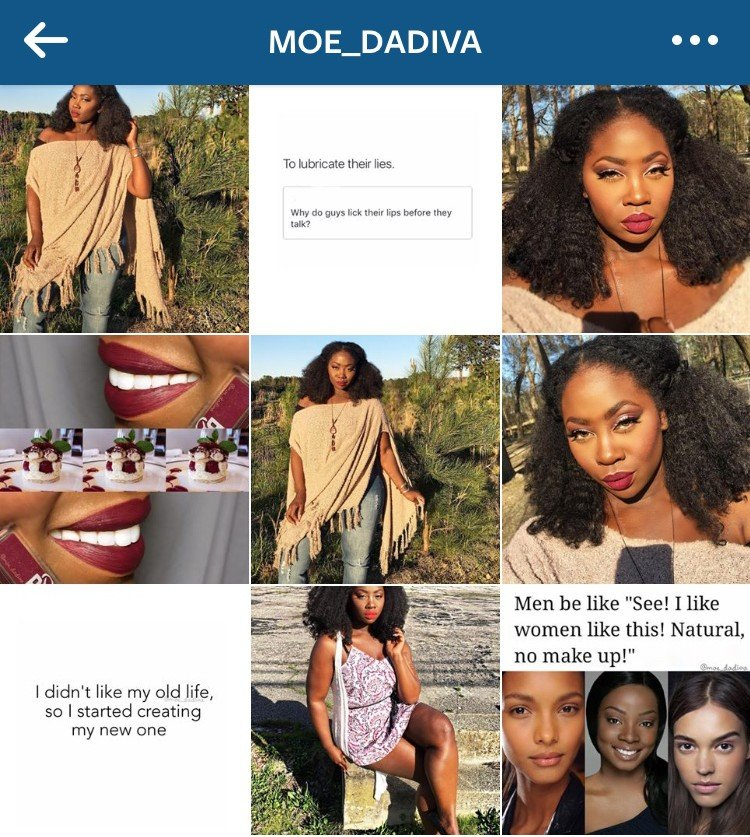 Pretty Instagram feed MoeDaDiva