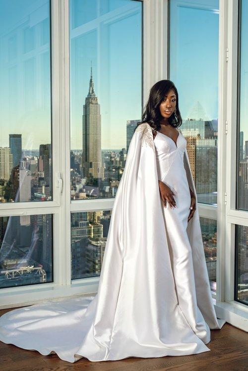 Black model in Jean Ralph Thurin wedding dress