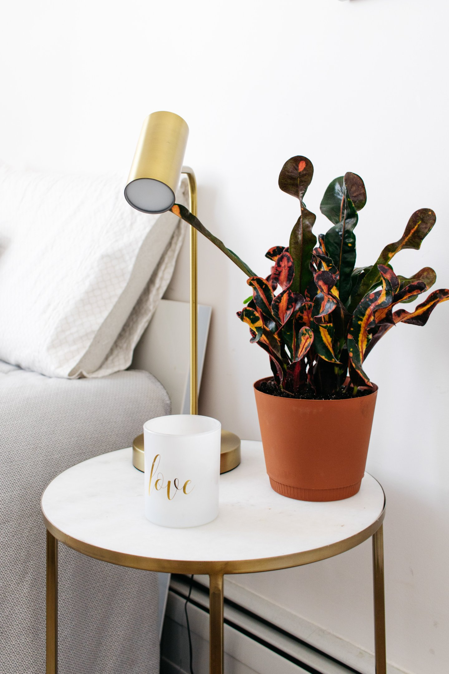 Home Office to Guest Bedroom Makeover - Croton on Nightstand