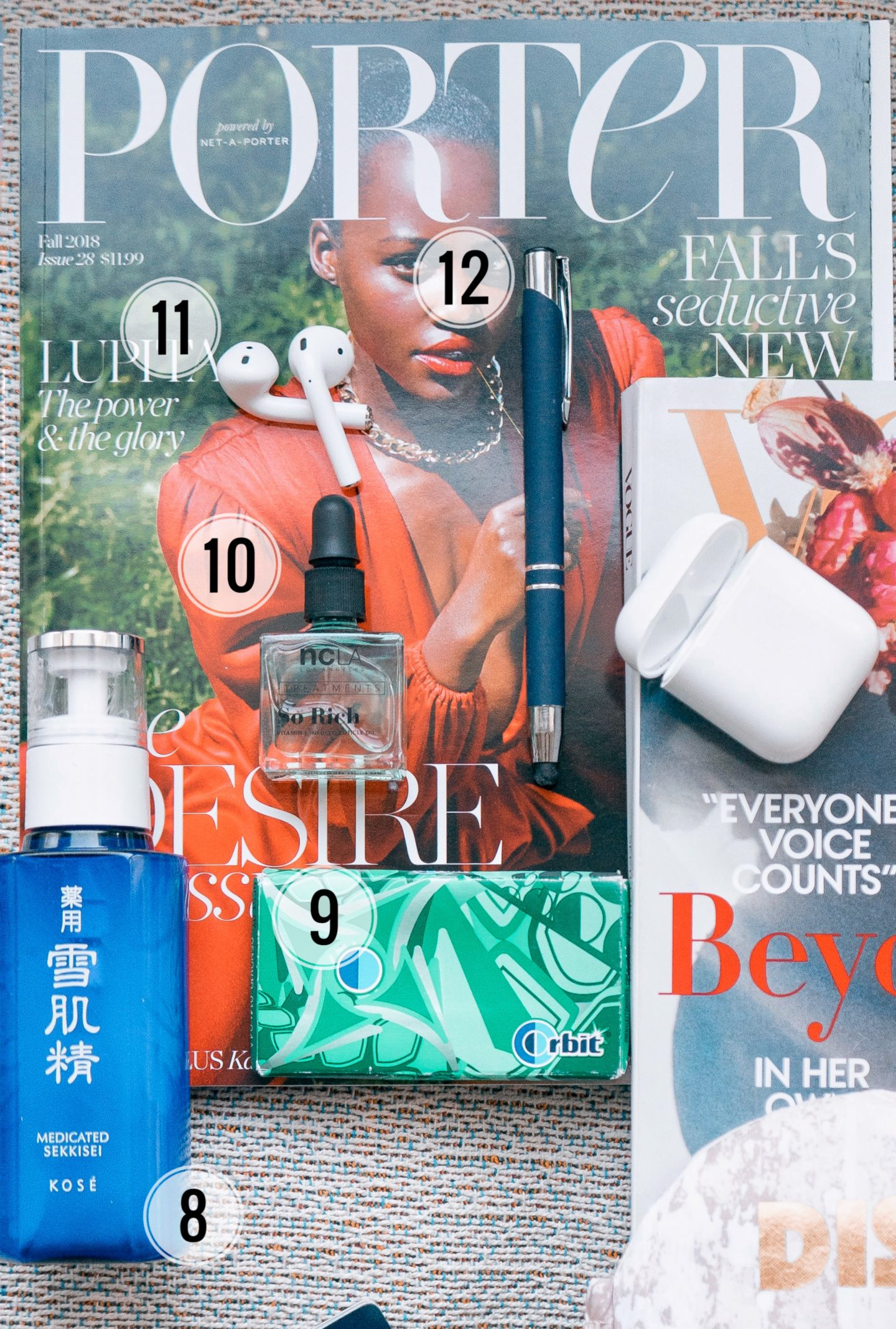 Porter magazine Lupita Nyongo, Kose Sekkisai Emulsion, Orbit gum, apple airpods, NCLA cuticle oil, in flight essentials