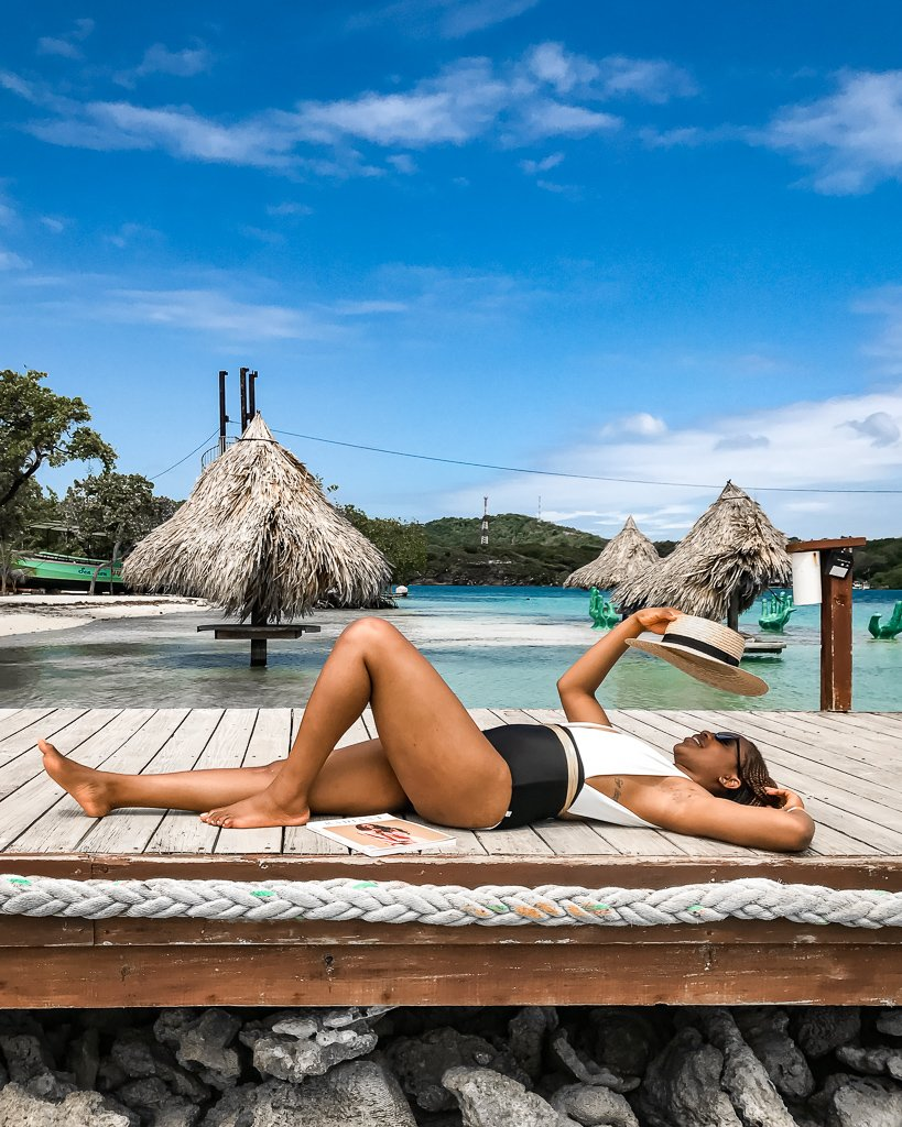 Summersalt Capri swimsuit at Big French Key in French Harbor Roatan Honduras