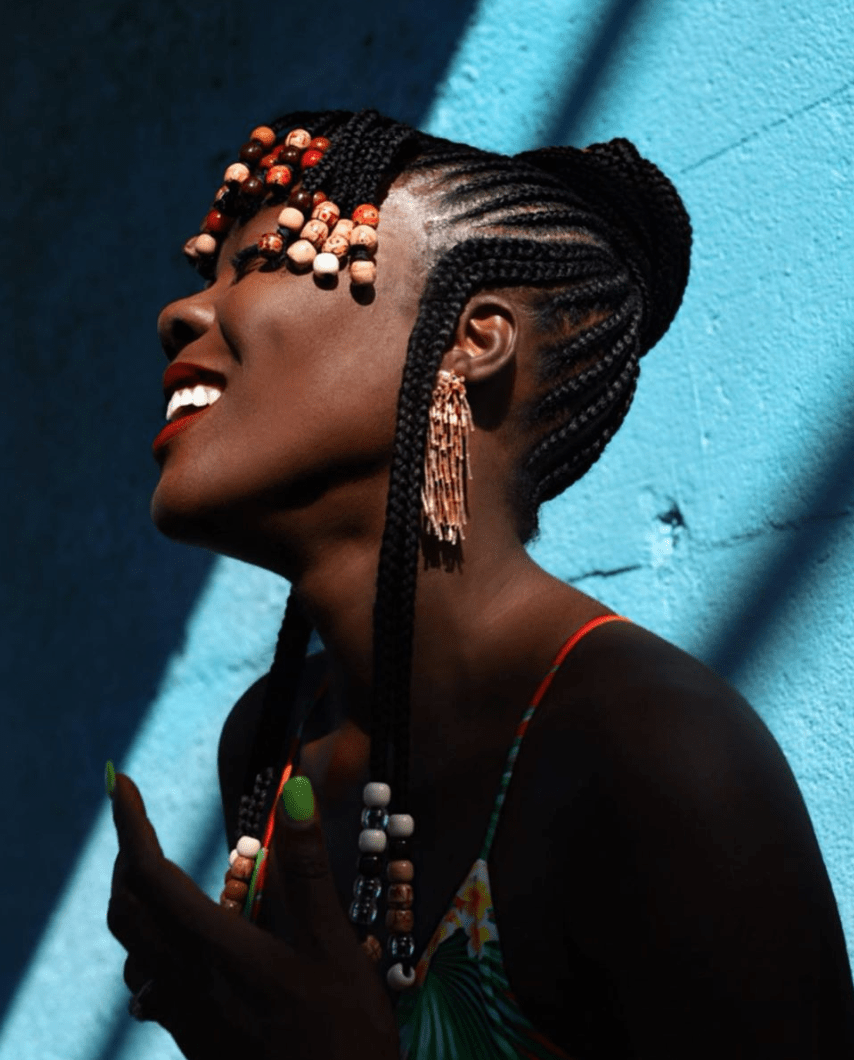 Braids and Beads Hairstyle with Bands - Cynthia Andrew