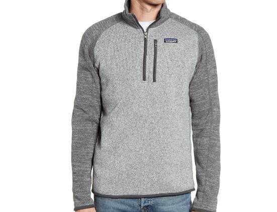 Two tone grey fleece pullover