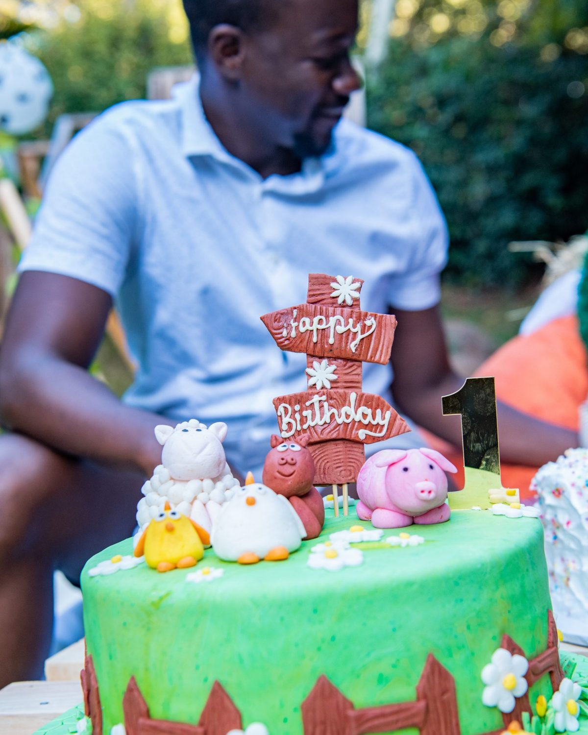 Farm themed 1st birthday cake with Jonathan Kola in background
