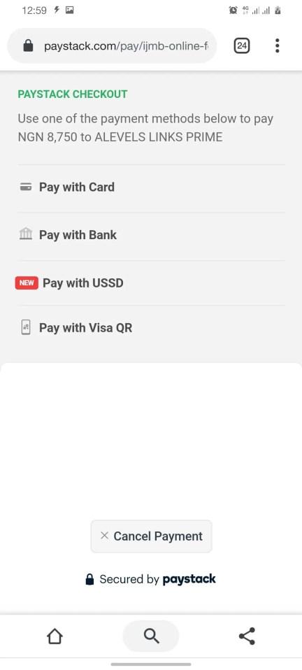 IJMB Form PAYSTACK checkout