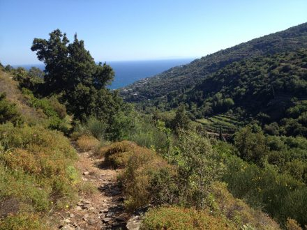 Footpath, valley and the sea