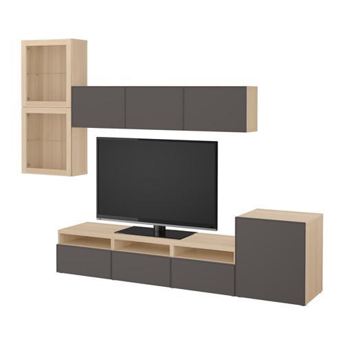 besta meuble tv combine porte en verre un chene blanchi grundsviken gris fonce en verre transparent guides de tiroirs doucement fermer