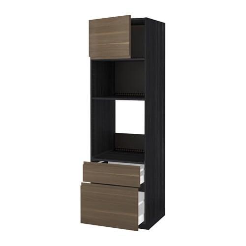 methode maximera meuble haut d four micro ondes porte 2 bois noir noyer wokstorp cm 60x60x200
