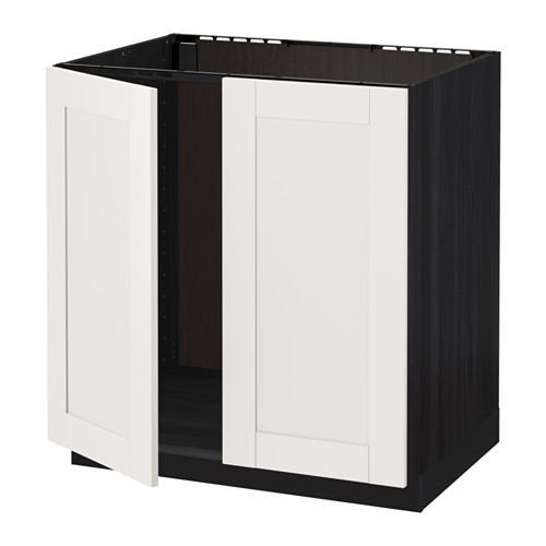 armoire d exterieur metod pour eviers portes 2 noir blanc blanc suedois 80x60 cm