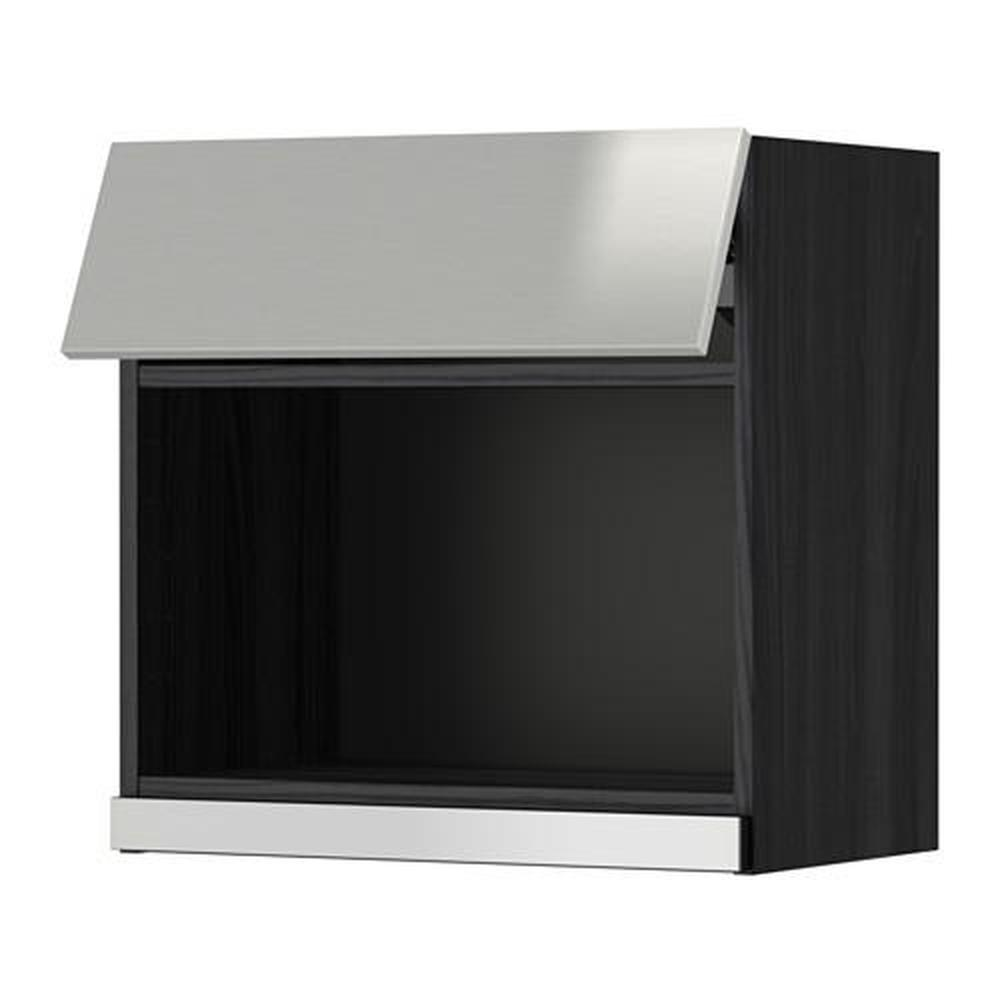 metod wall cabinet for microwave black grevsta stainless steel 60x60 cm
