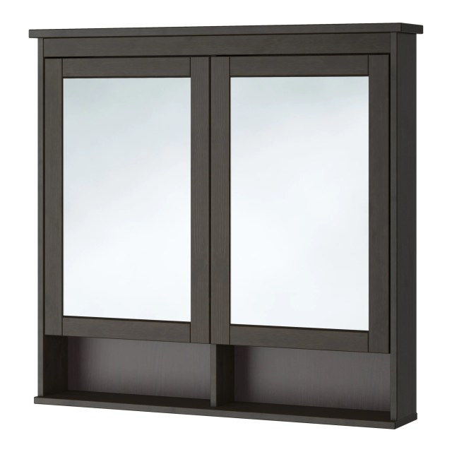 HEMNES Mirror cabinet with 2 doors black brown stain 32 5 8x6 1