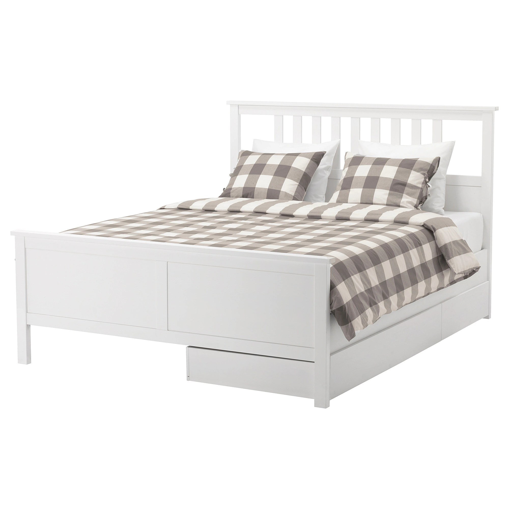 Bed Frame With 2 Storage Boxes Hemnes White Stain Lönset
