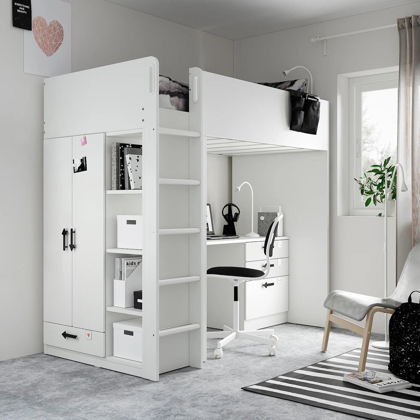 SMÅSTAD Hochbett   weiß weiß/mit Schreibtisch 4 Schubladen ...