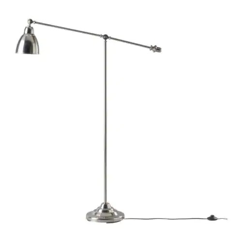 BAROMETER Floor/reading lamp, nickel-plated Height: 146 cm Base diameter: 26 cm Shade diameter: 16 cm Cord length: 2.2 m