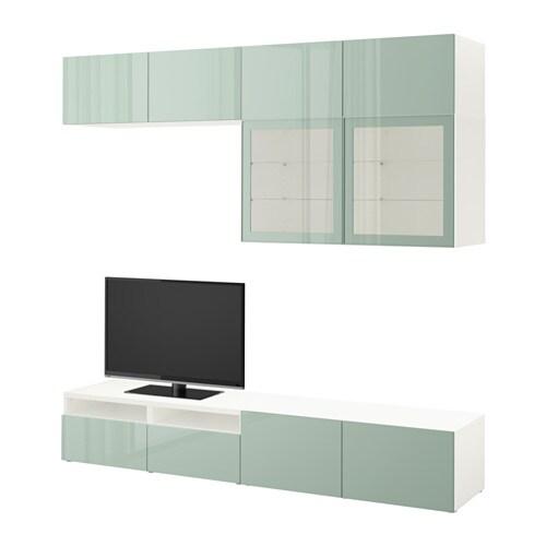Best 197 Tv Storage Combination Glass Doors White Selsviken