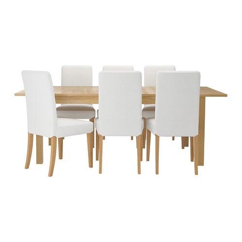 BJURSTA / HENRIKSDAL Table and 6 chairs IKEA 2 extension leaves included.