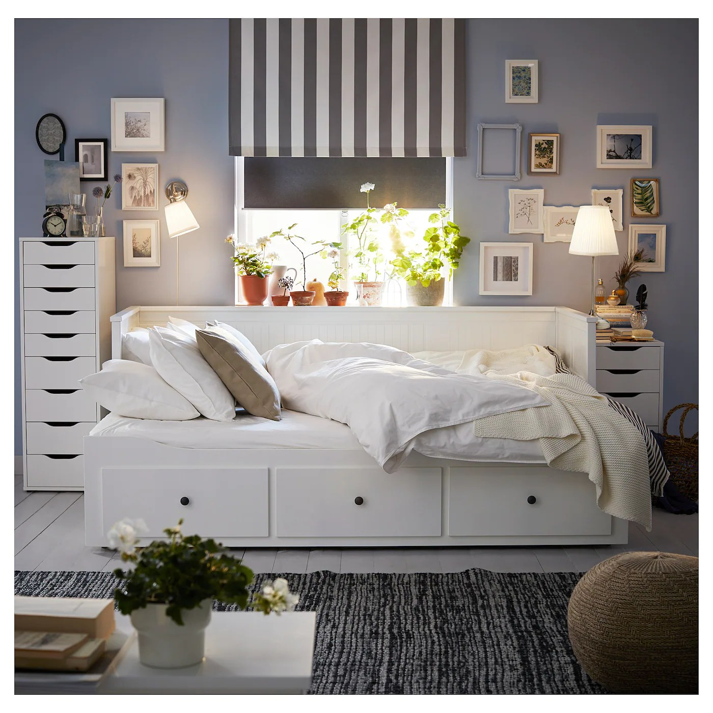 Hemnes Day Bed W 3 Drawers 2 Mattresses White Malfors Firm Single Ikea