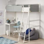 Vitval Loft Bed Frame With Desk Top White Light Grey Single Ikea