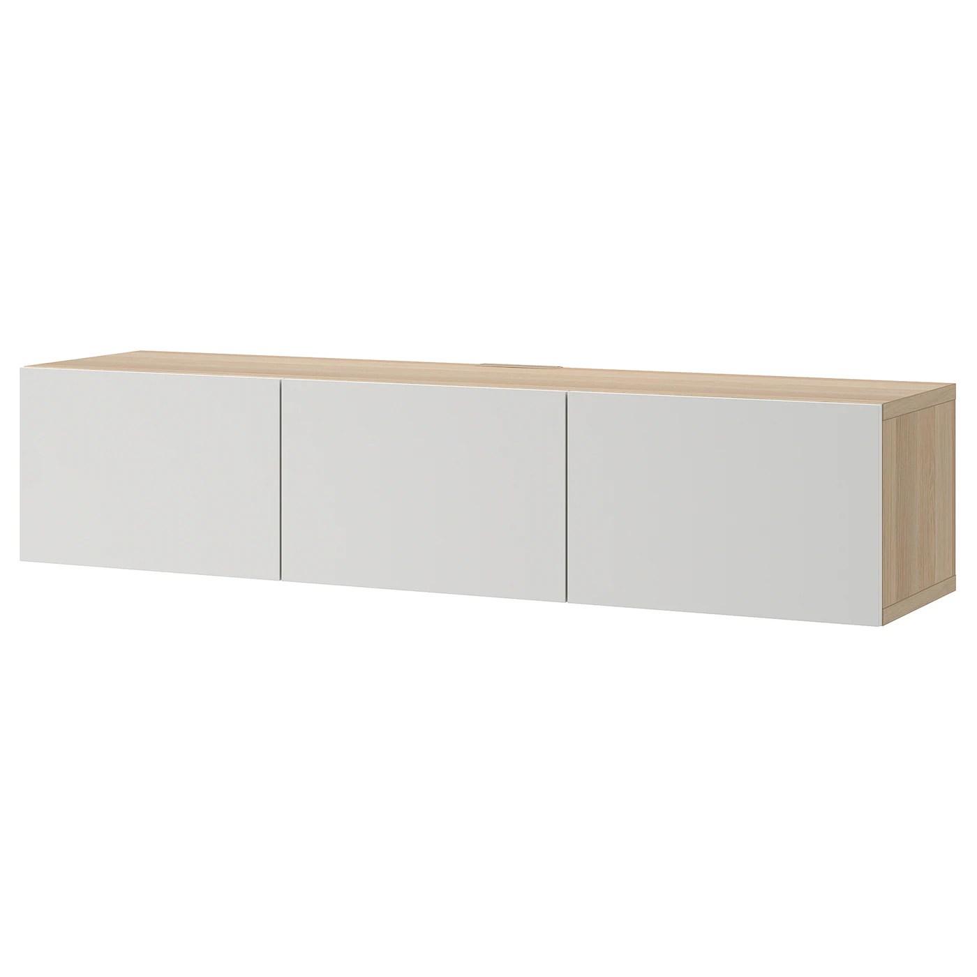 besta banc tv avec portes effet chene blanchi lappviken gris clair 180x42x38 cm