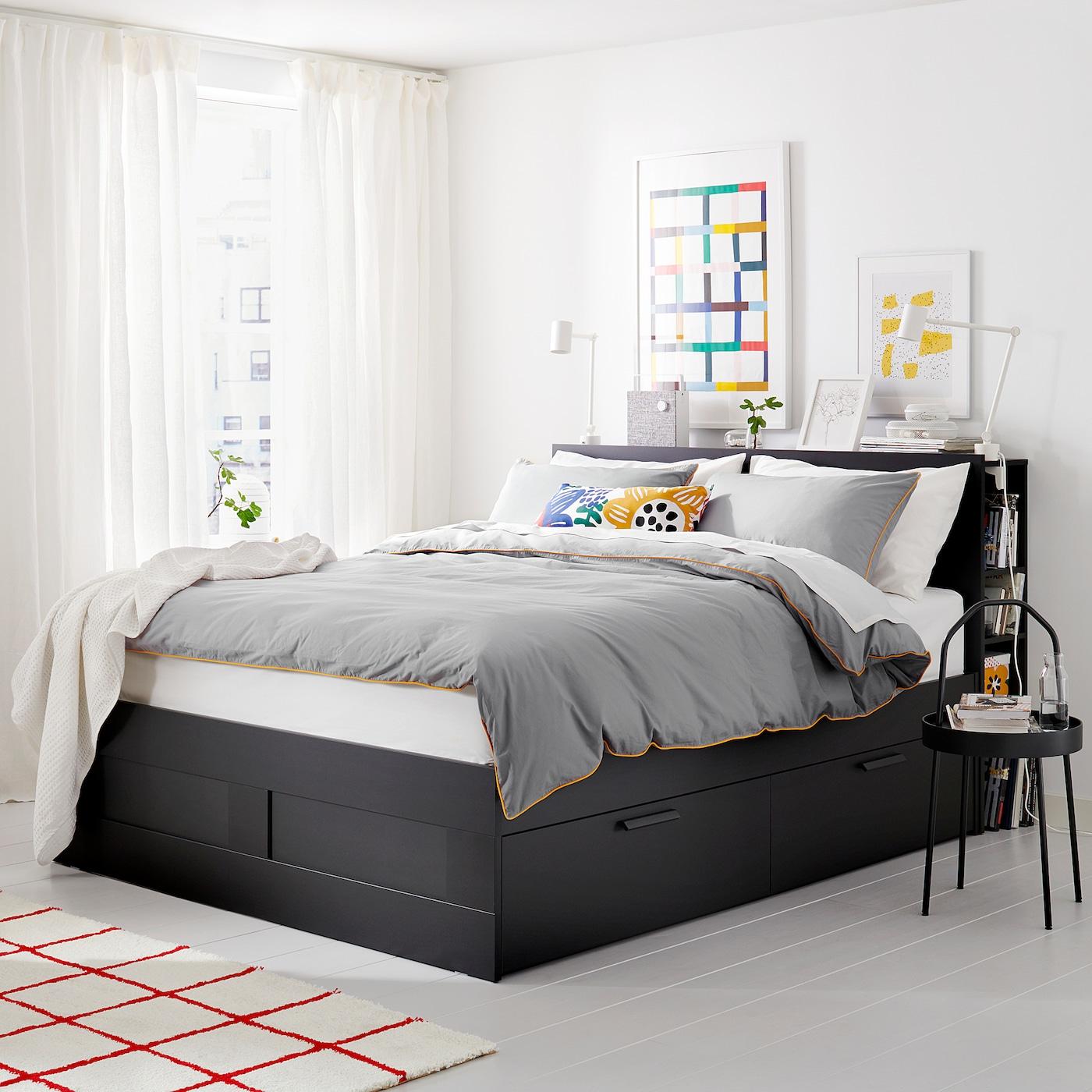 brimnes cadre de lit rangement tete de lit noir luroy 180x200 cm