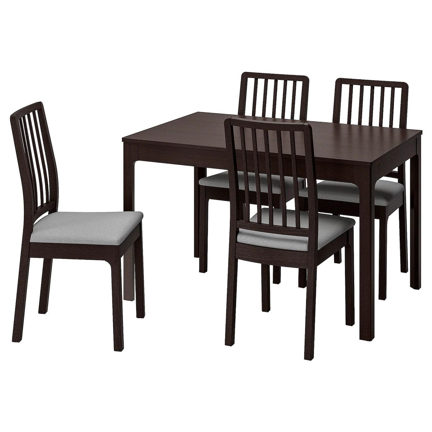 ekedalen ekedalen table et 4 chaises brun fonce orrsta gris clair 120 180 cm