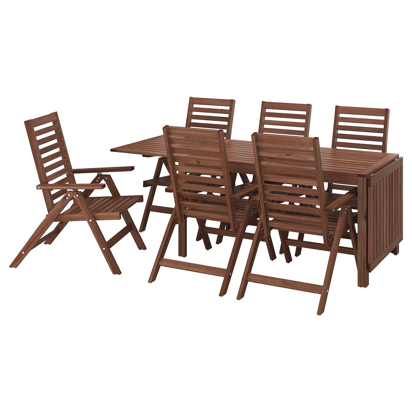 """tavoli e sedie da giardino """"il giardino e il terrazzo sono luoghi fondamentali in una casa, che se sono presenti arricchiscono l'abitazione di una grande possibilità: Applaro Table 6 Reclining Chairs Outdoor Brown Stained Ikea"""