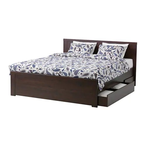 Brusali Bed Frame With 4 Storage Boxes Queen Ikea