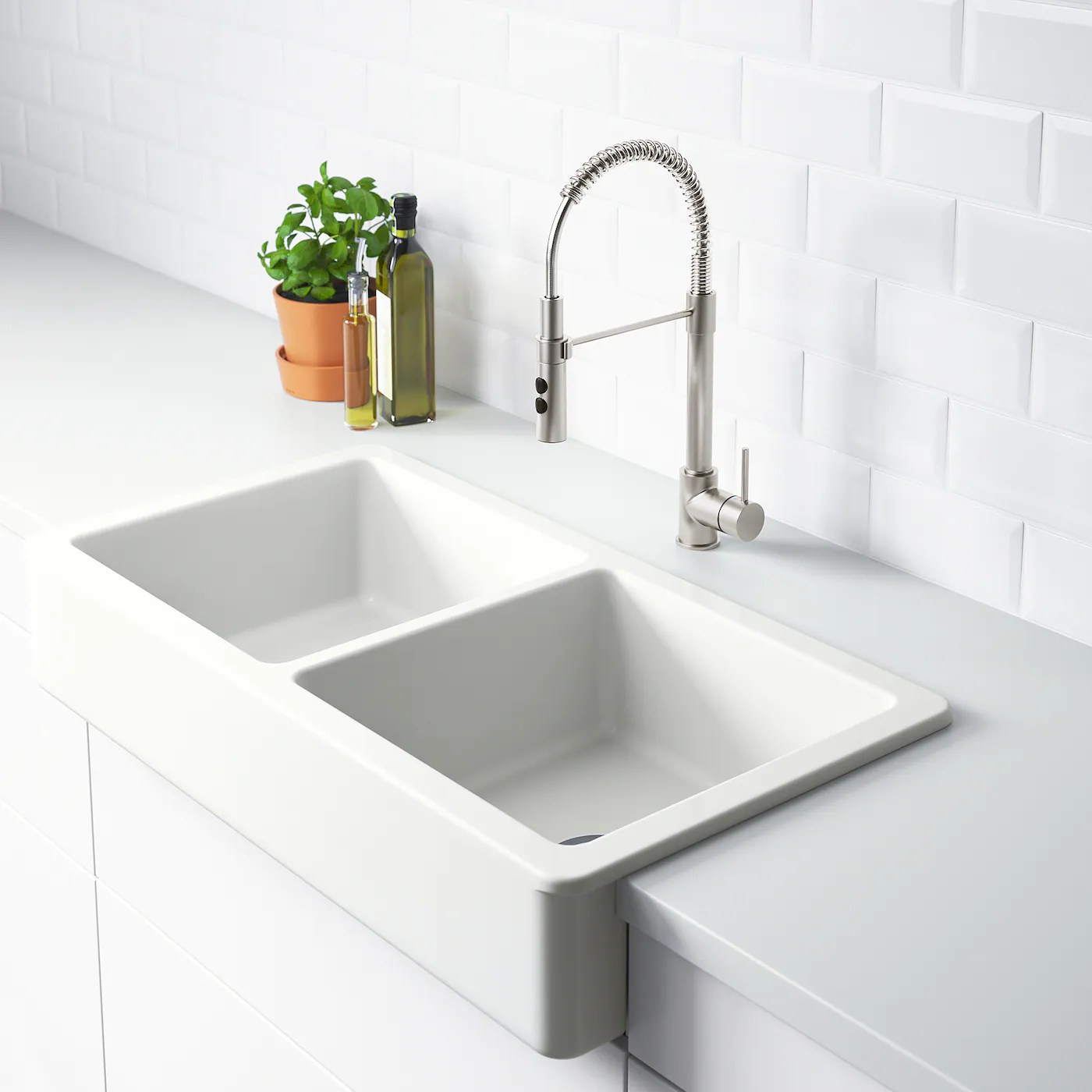 Havsen Apron Front Double Bowl Sink White Ikea