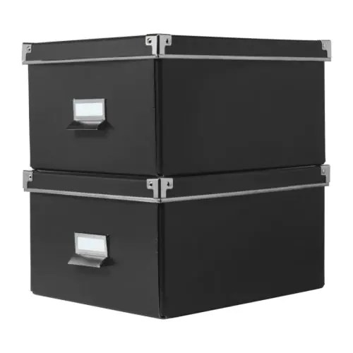 "KASSETT Box with lid for paper black Width: 11 "" Depth: 13 ¾ "" Height: 7 "" Package quantity: 2 pack  Width: 28 cm Depth: 35 cm Height: 18 cm Package quantity: 2 pack"
