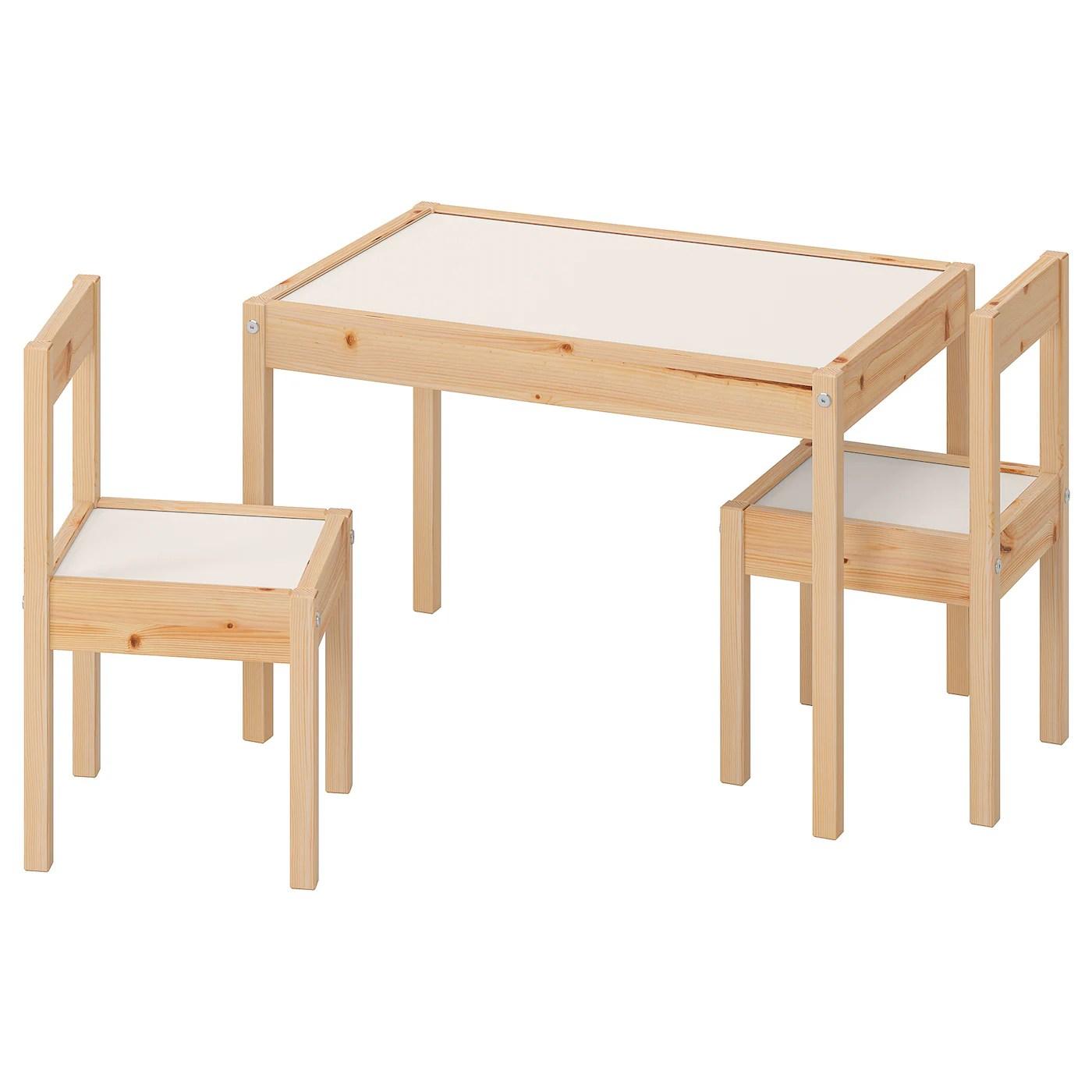 Latt Children S Table And 2 Chairs White Pine Ikea