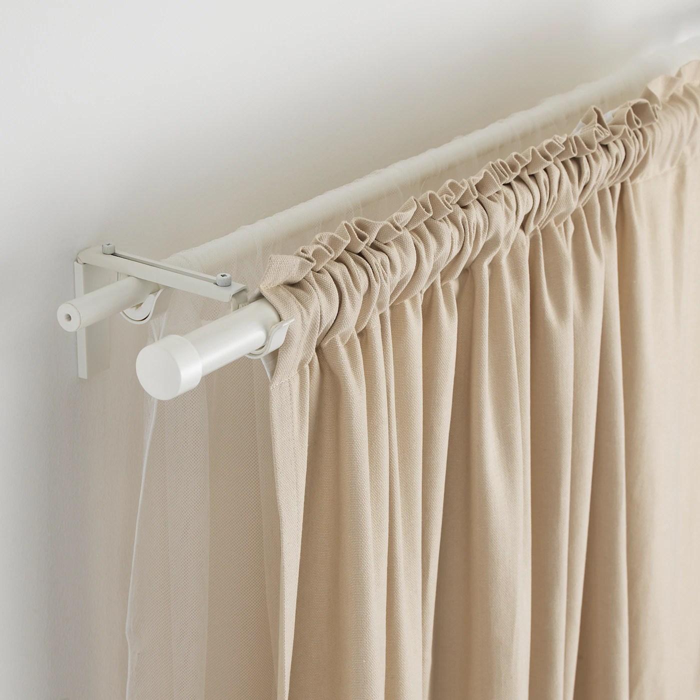 racka hugad double curtain rod combination white 82 5 8 151 5 8 210 385 cm