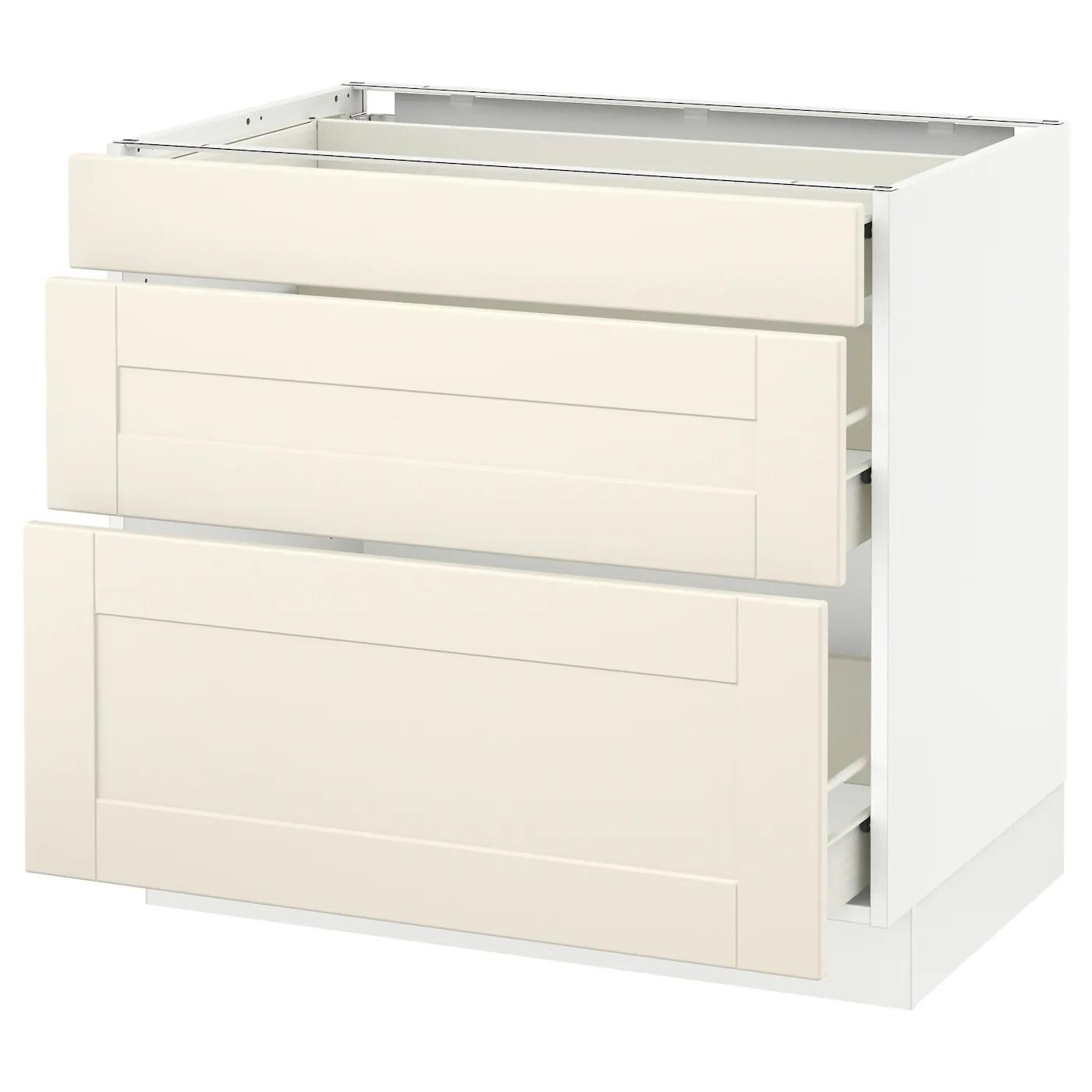 Sektion Base Cabinet With 3 Drawers White Forvara Grimslov Off White Ikea