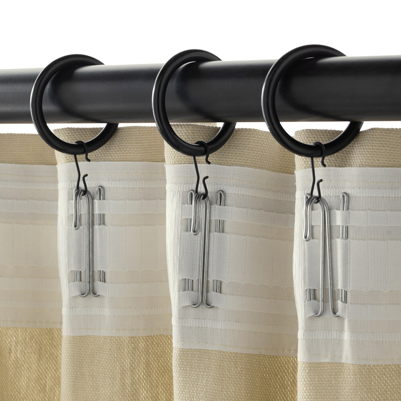 syrlig curtain ring with clip and hook black 1 1 2 38 mm