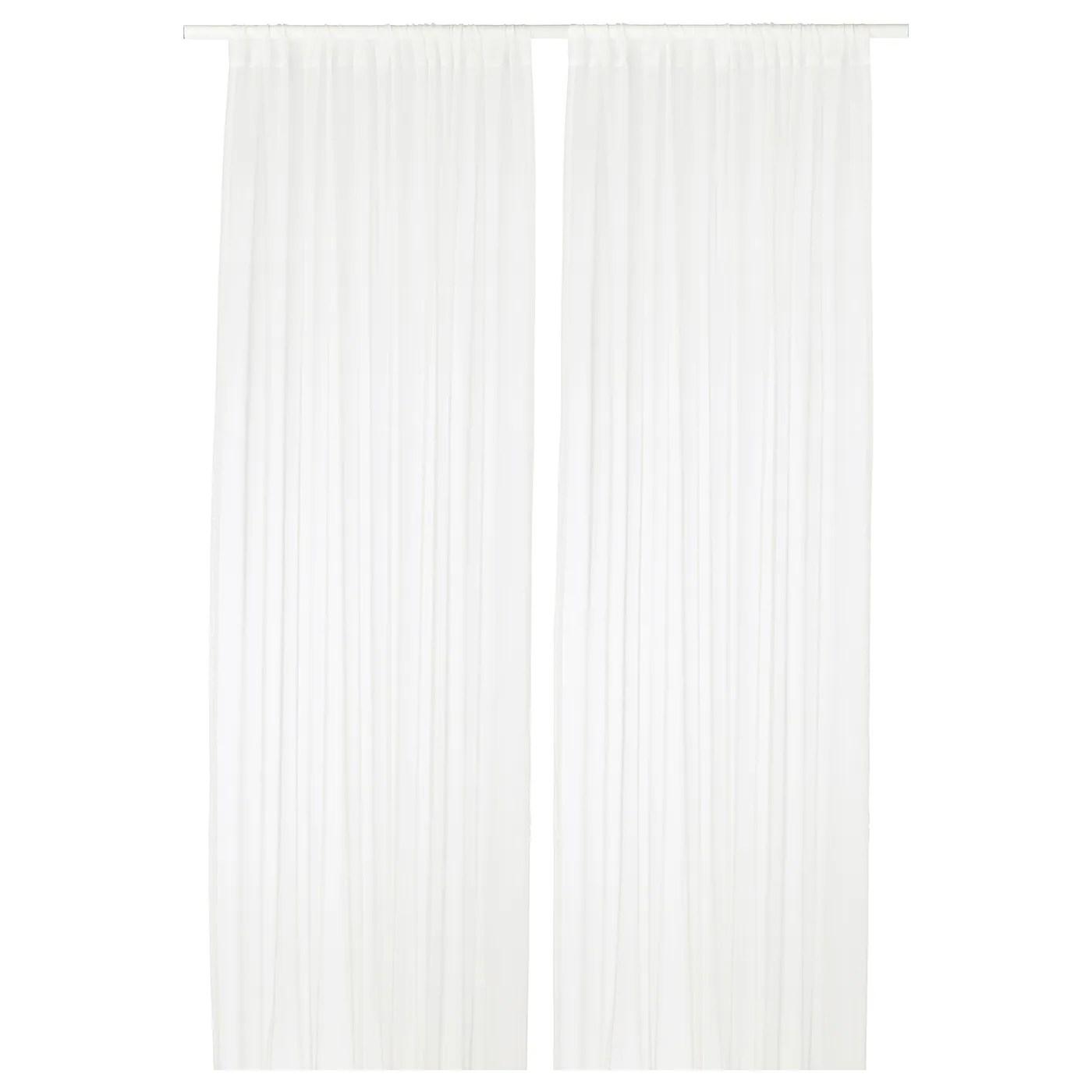 teresia sheer curtains 1 pair white 57x98 145x250 cm