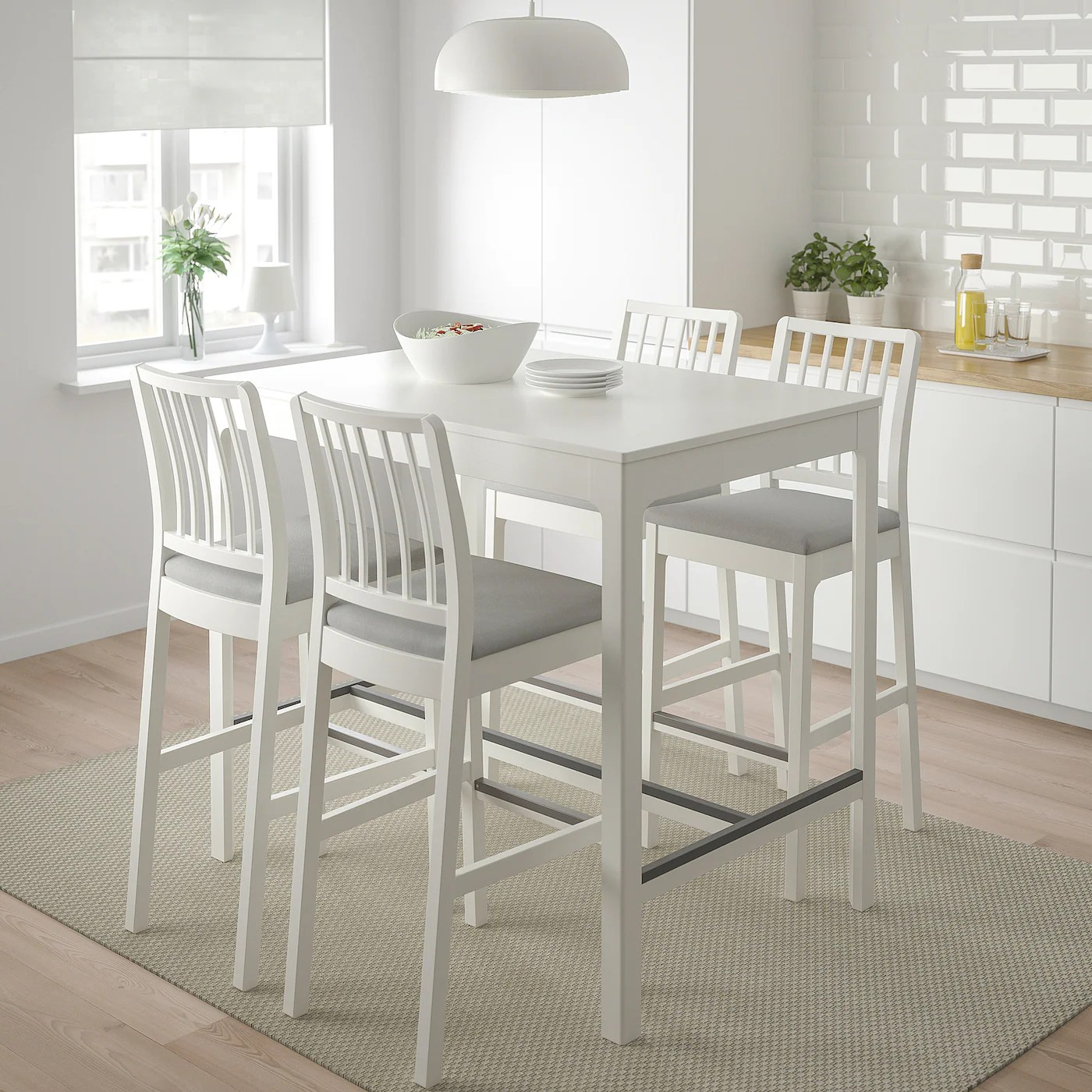 Ekedalen Tabouret Bar Dossier Blanc Orrsta Gris Clair 29 1 2 75 Cm Ikea