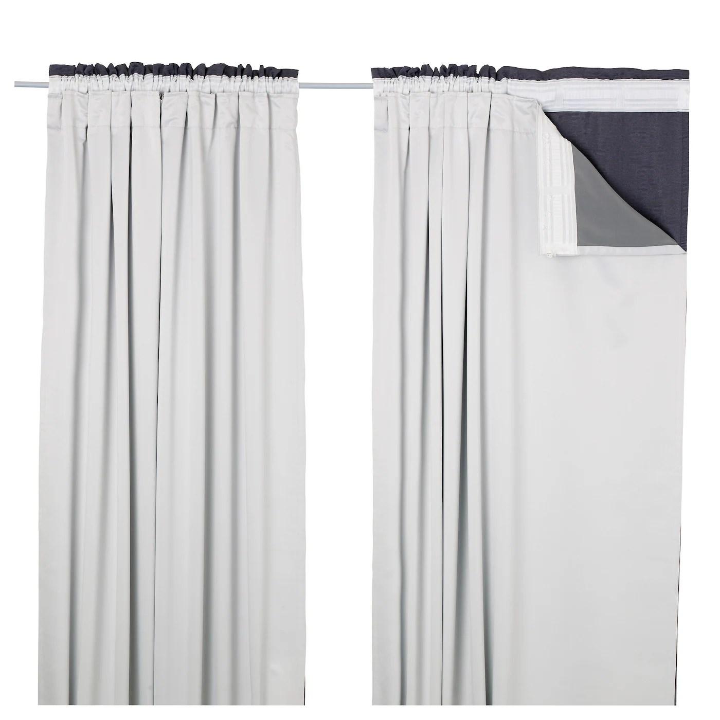 glansnava doublure rideau 2 panneaux gris clair 56x94 143x240 cm