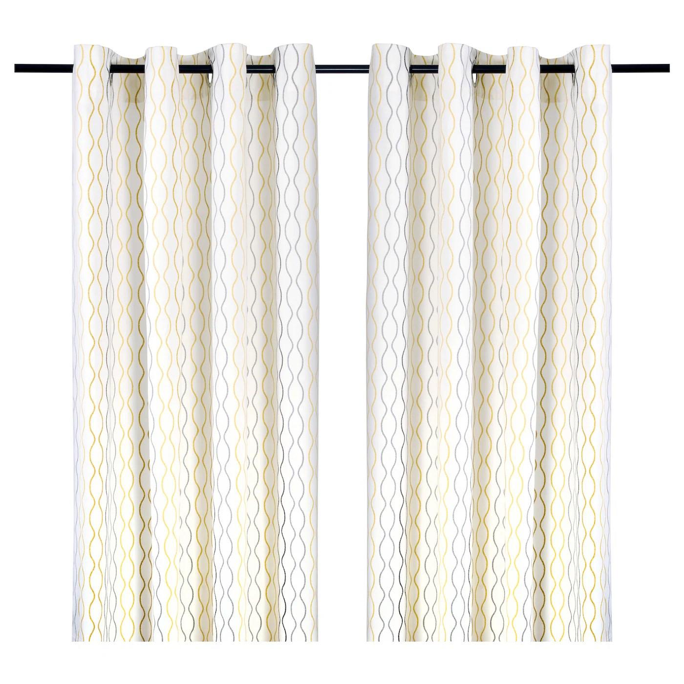 henny rand rideaux 2 panneaux blanc gris jaune 57x98 145x250 cm